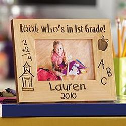 Personalized Look Who's in School Wood School Frame
