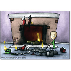 Santa vs the Lit Fireplace Holiday Card