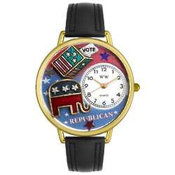 Republican Black Leather Band Watch