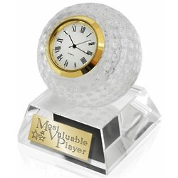 Crystal and Gold-Tone Golf Clock