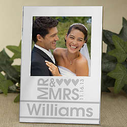 Personalized Mr and Mrs Silver Wedding Picture Frame