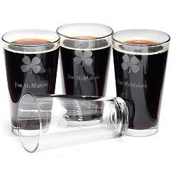 Personalized Irish Shamrock Pint Glasses