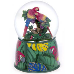 Hugging Parrot Couple Water Globe