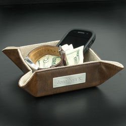 Personalized Brown Leather Snap Valet Tray