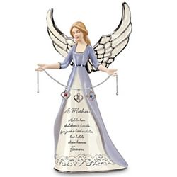 A Mother's Heart Birthstone Charm Angel Figurine