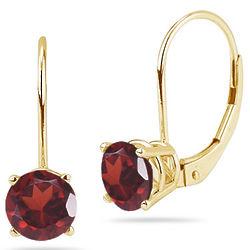 6mm Garnet Stud Earrings in 14K Yellow Gold