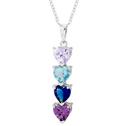 4 Stone Custom Birthstone Heart Drop Mother's Pendant