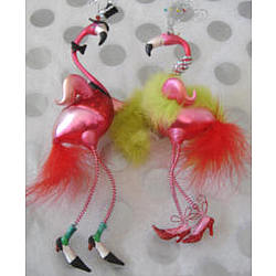 Lady and Gentleman Dancing Pink Flamingo Ornaments