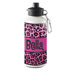 Personalized Leopard Print Water Bottle