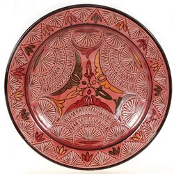"Moroccan Rose Carved 14"" Decorative Plate"