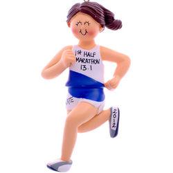 1st Half Marathon Brunette Female Ornament