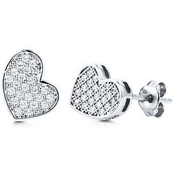 Micro Pave Cubic Zirconia Heart Stud Earrings in Sterling Silver