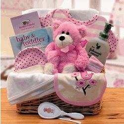 Pink Simply Organic Baby Necessities Gift Basket
