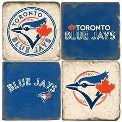 Toronto Blue Jays Tumbled Italian Marble Coaster Set