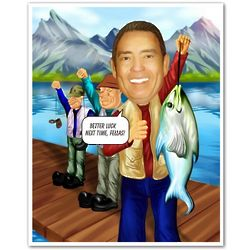 Fishing Caricature from Photos Art Print