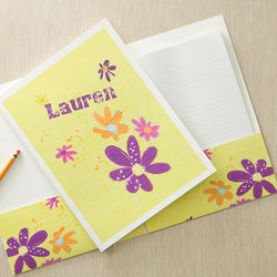 Personalized Girls Flower Power Folders