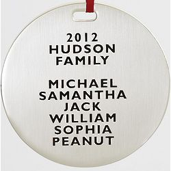 Family Names Modern Metal Ornament