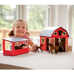 Wooden Bitty Red Gable Horse Barn Play Set