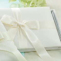 Tied with a Bow Wedding Guest Book and Pen