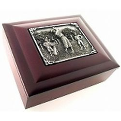 Golfers Wood and Pewter Gift Box