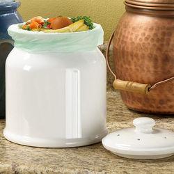 0.9 Gallon White Ceramic Compost Crock