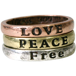 Peace, Free, Love Inspirational Rings