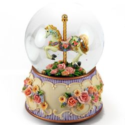 Carousel Horse with Rose Base Water Globe