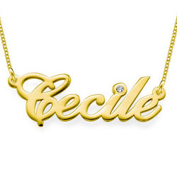 14 Karat Gold and Diamond Personalized Name Chain Necklace