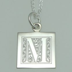 Floral Initial Engraved Silver Pendant/Necklace