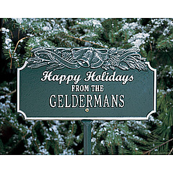 Personalized Happy Holidays Plaque with Bells