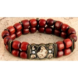 Marian Images Double Row Brazilian Wood Bracelet