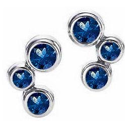 14K White Gold Bubble Blue Sapphire Diamond Earrings