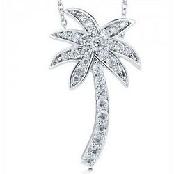 Sterling Silver Palm Tree Pendant Necklace in Cubic Zirconia