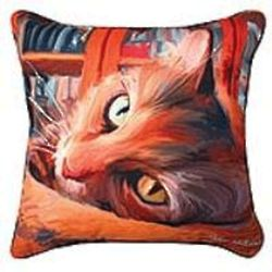 Kitty in the Library Pillow