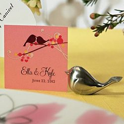 Silver Love Bird Card Holder