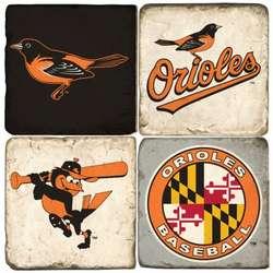 Baltimore Orioles Tumbled Italian Marble Coaster Set