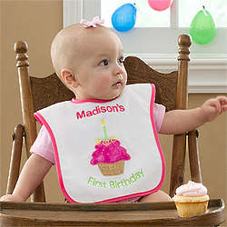 First Birthday Personalized Baby Bib for Girls