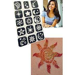 Sun Moon and Stars Temporary Glitter Tattoos for Teens