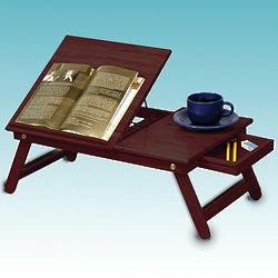 Portable Cherry Finish Reader's Tray Table