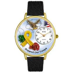 Support Our Troops Tan Leather Band Watch