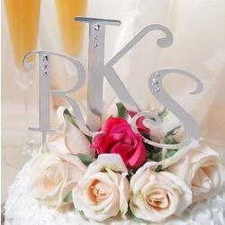 Large Lettered Swarovski Crystal Cake Toppers