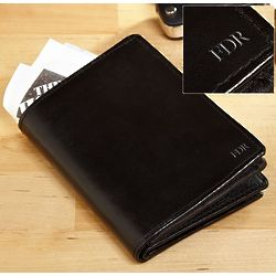 Down to Business Personalized Black Bifold Wallet