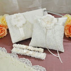 Vintage Lace Wedding Garter, Guest Book, and Ring Pillow