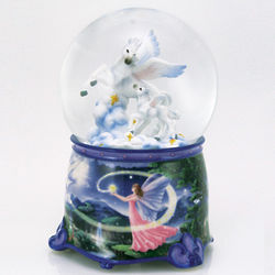 Mother and Baby Pegasus with Enchanted Fairy Base Water Globe