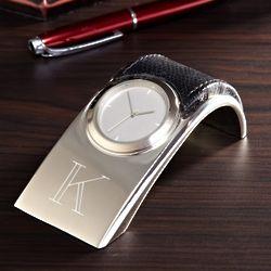 Personalized Silver Desk Top Clock