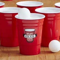 Personalized Beer Pong Cups with Balls