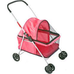 Large Pink Folding Pet Stroller