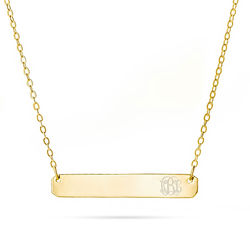 Monogram Gold Vermeil Bar Necklace