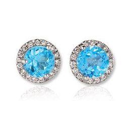 Blue Topaz Diamond Stud Earrings in 14k White Gold