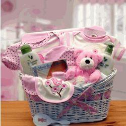 Pink Deluxe Organic Baby Gift Basket